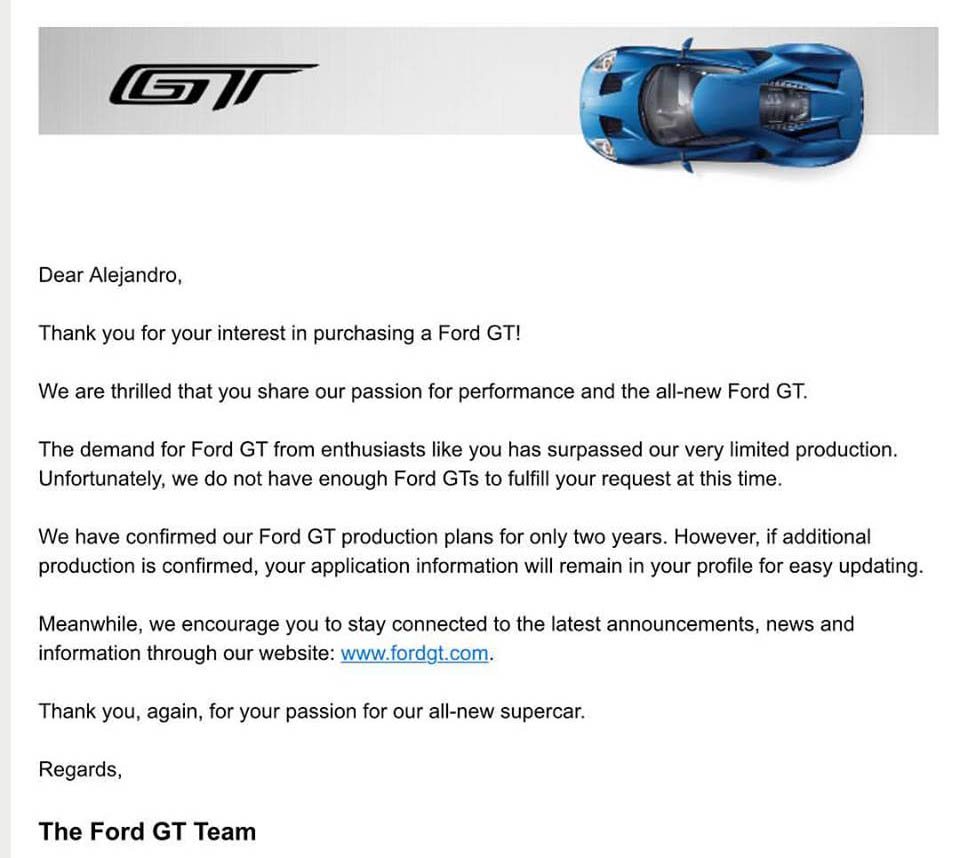2017 Ford GT Rejection Letter