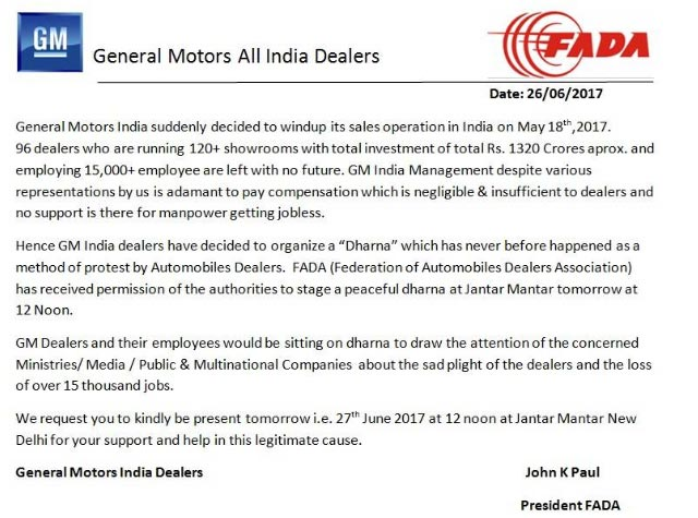 GM-Dealers-Jantar-Mantar-Protest