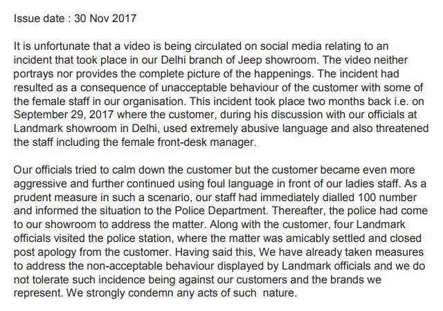 Jeep-Landmark-Delhi-dealer-beat-up-customer-press-release