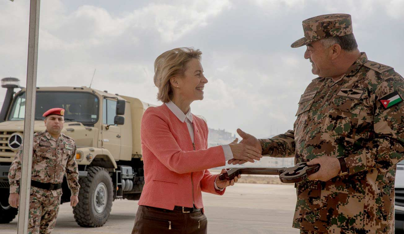 Defence Minister of the Federal Republic of Germany, Ursula von der Leyen, hands over 126 Mercedes-Benz vehicles to the Kingdom of Jordan