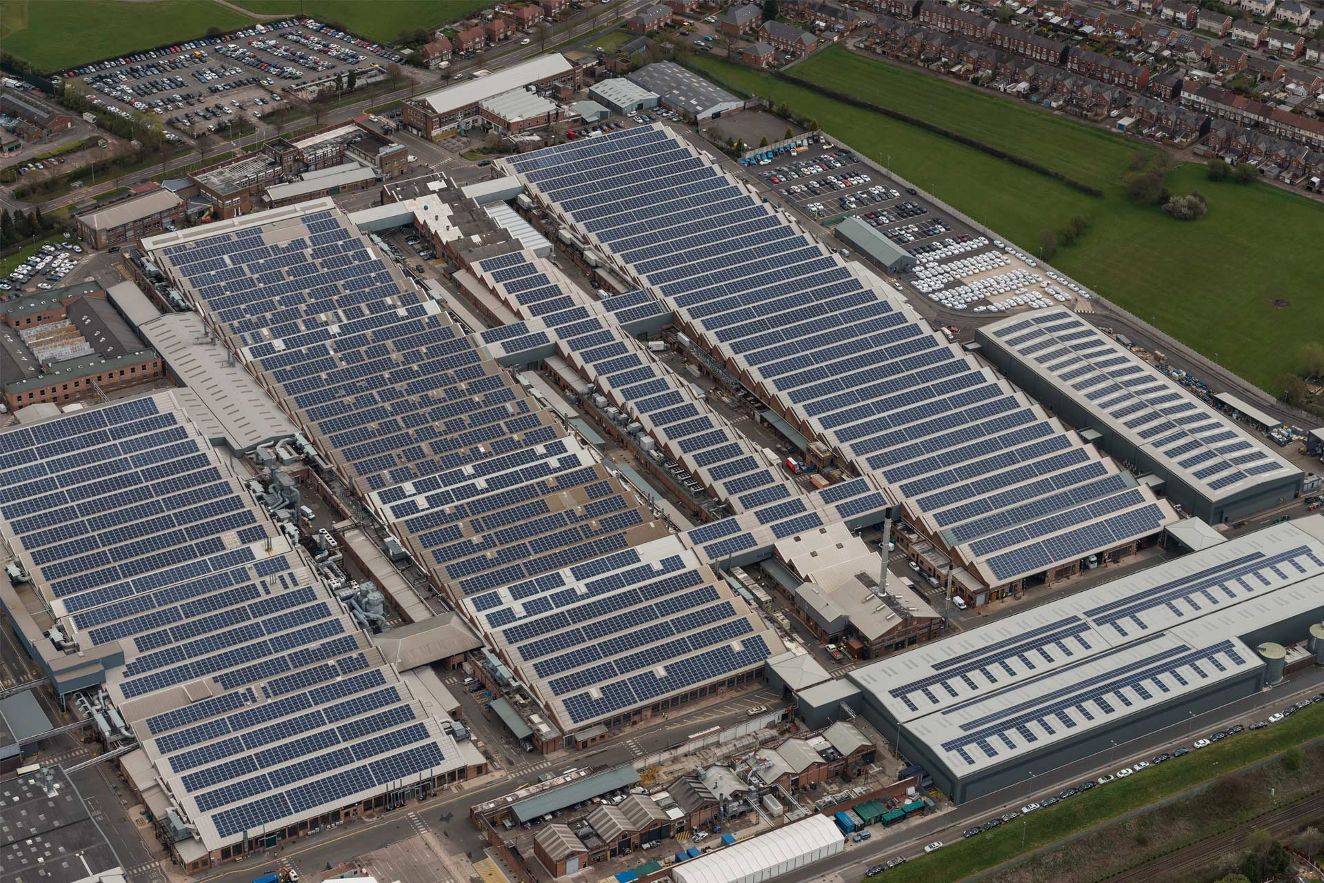 Bentley factory with roof top solar panels