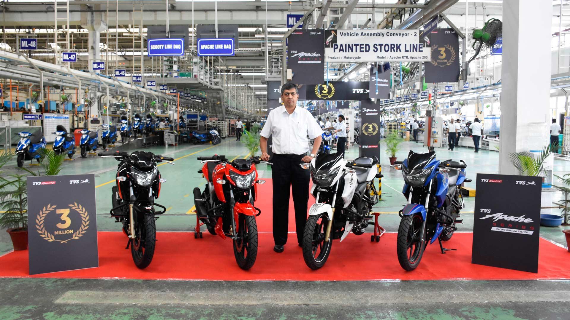 TVS Apache Series crosses 3 million sales milestone KN Radhakrishnan Mysore