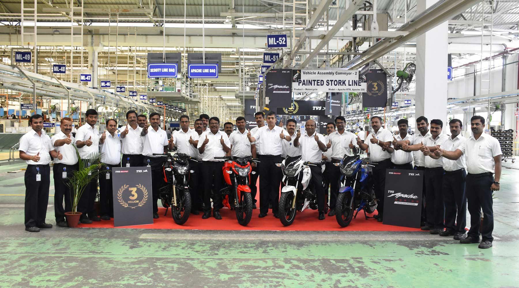 TVS Apache Series crosses 3 million sales milestone KN Radhakrishnan and team Mysore