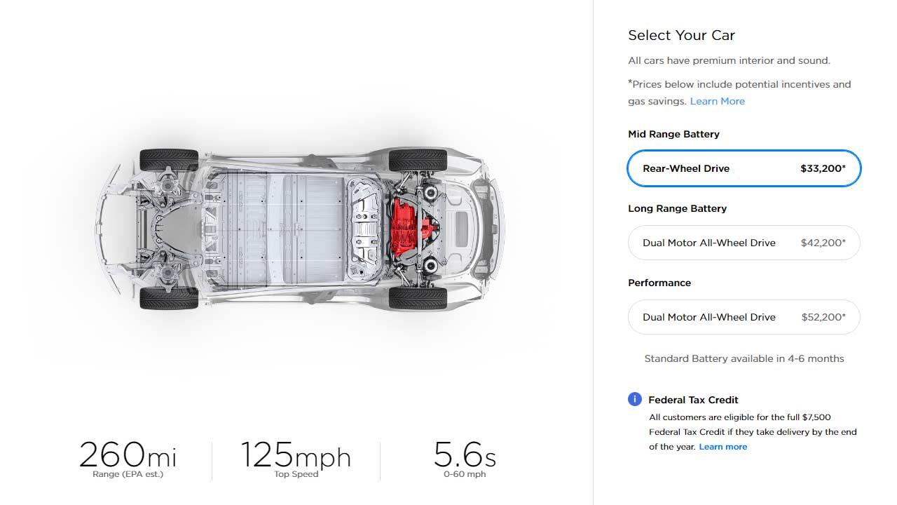 Tesla Model 3 mid-range battery rear wheel drive