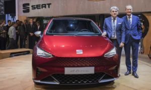 Volkswagen Group CEO, Dr Herbert Diess and SEAT CEO, Luca de Meo with SEAT-el-Born-Geneva-2019