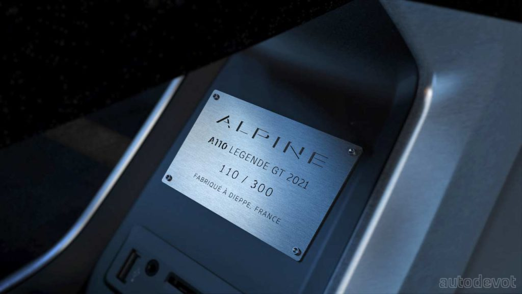2021-Alpine-A110-Legende-GT_interior_centre_console_plaque